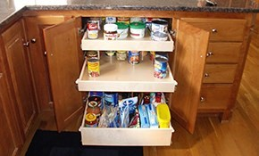 $800 for Three Custom-Built Glide-Out Shelves for Existing Pantry or Cabinetry