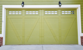 $1,650 Three Layer Insulated Steel, Double Car Garage Door Installed, Windows and Opener Included