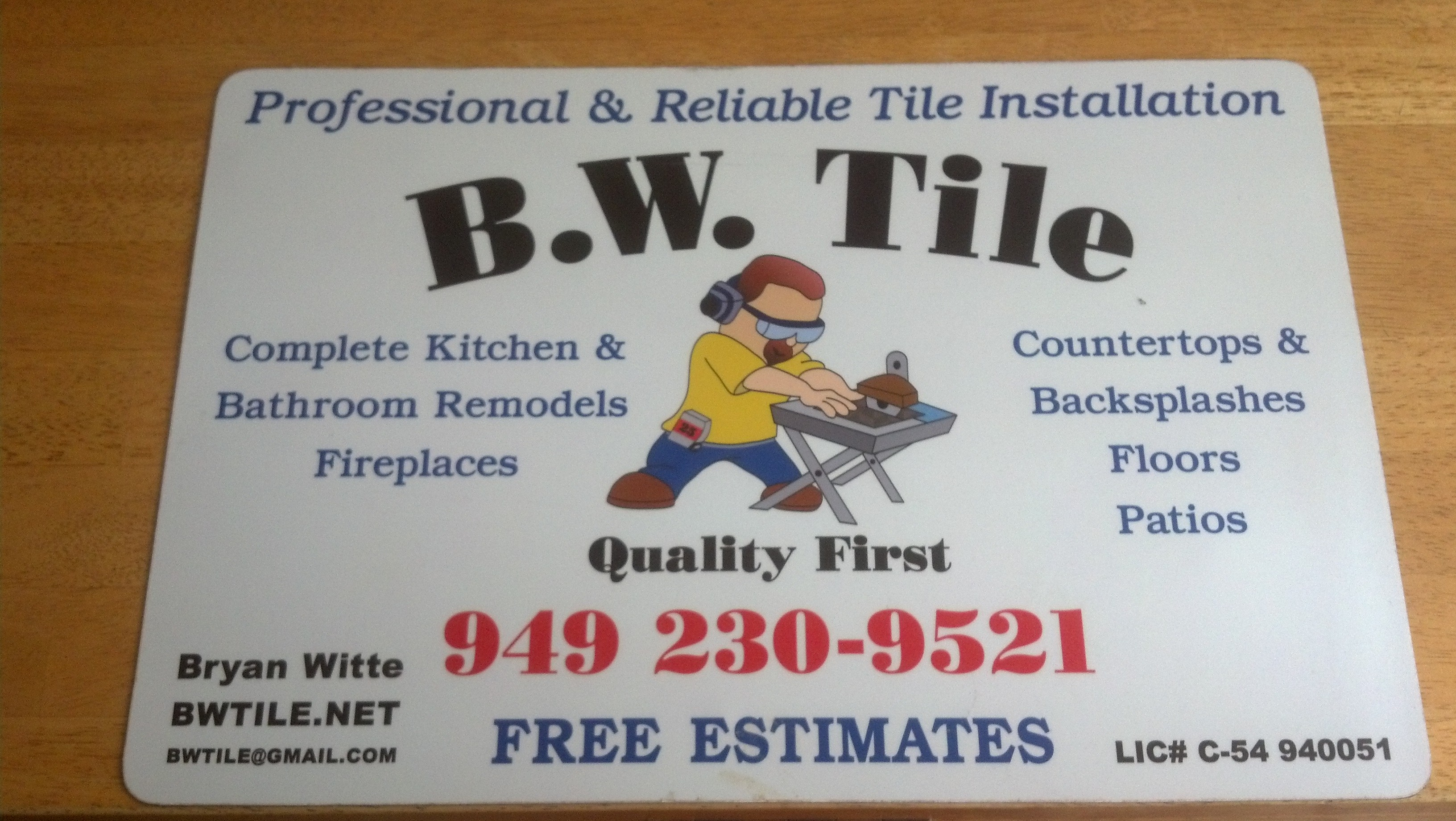 B.W. Tile and Sons Inc. logo