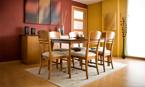 $2,529 Complete Dining Room Table with 4 Chairs Refinished