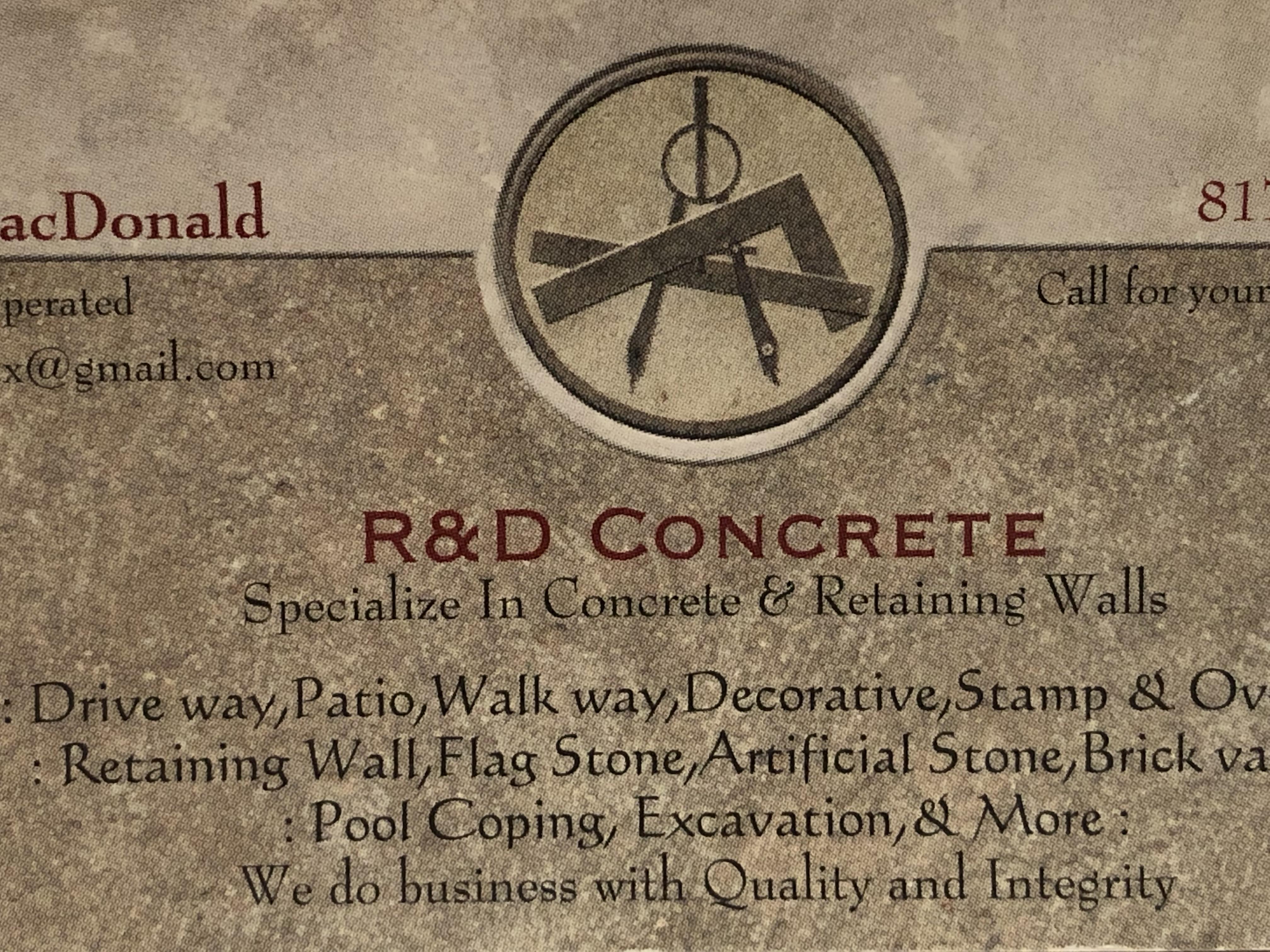 R & D CONCRETE & MASONRY logo